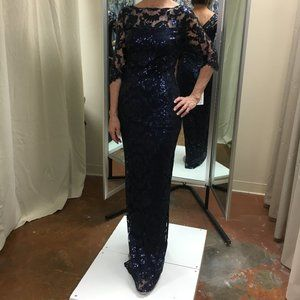 Embroidered Lace Sequin Evening Gown,size2